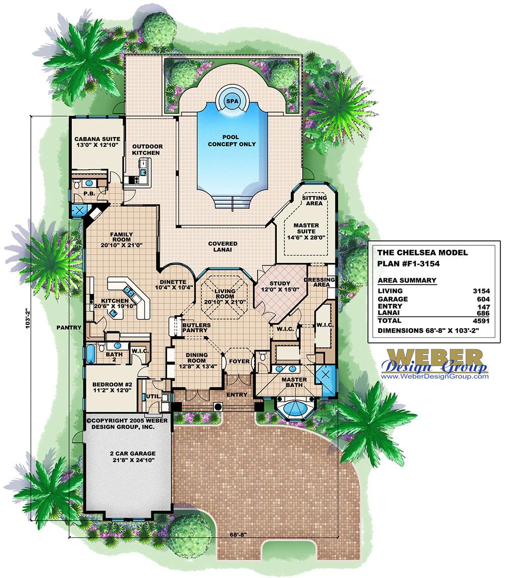 Tuscan House Plan Mediterranean Tuscan Home Floor Plan With Cabana