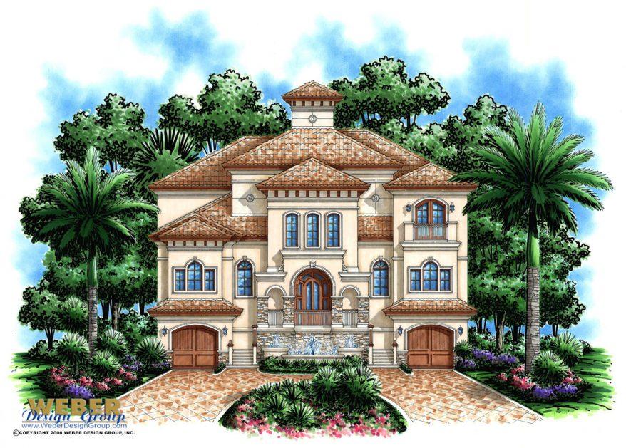 Beach House Plan: 3 Story Coastal Mediterranean Style ...