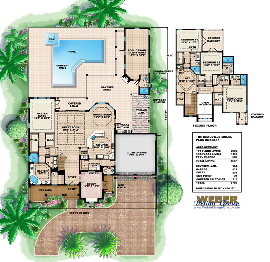 California House Plan 2 Story California Style Home Plan With Pool