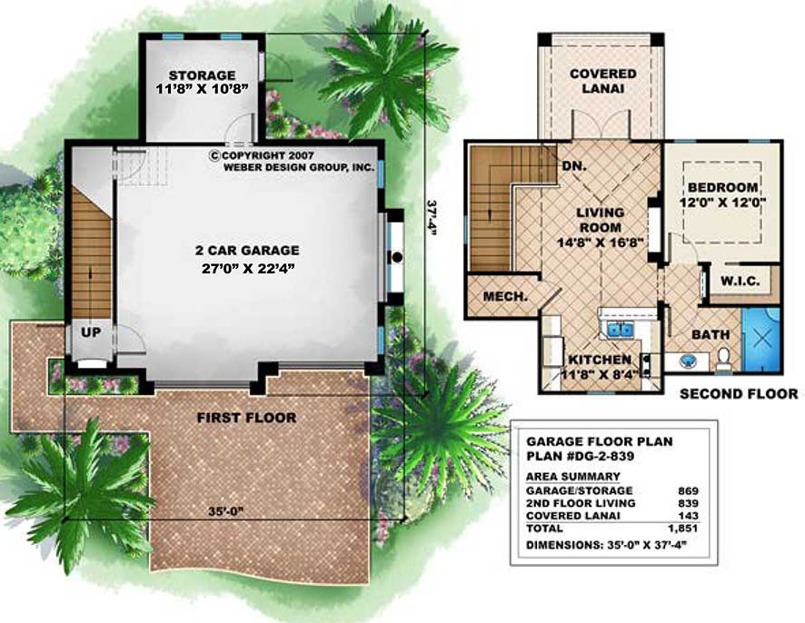 Small 2 Story House Floor Plan With 2 Car Garage