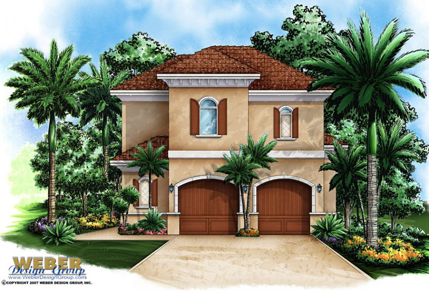 garagehouseplanelev 878x596 - View Two Story Floor Plan Small House Design Background