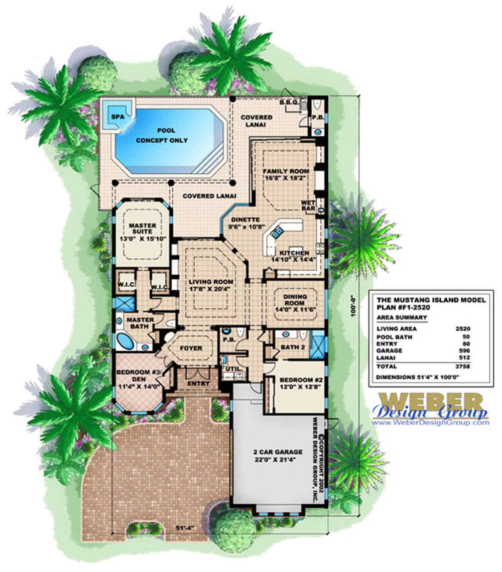 Mediterranean House Plan 1 Story Home Floor Plan For Narrow Lot