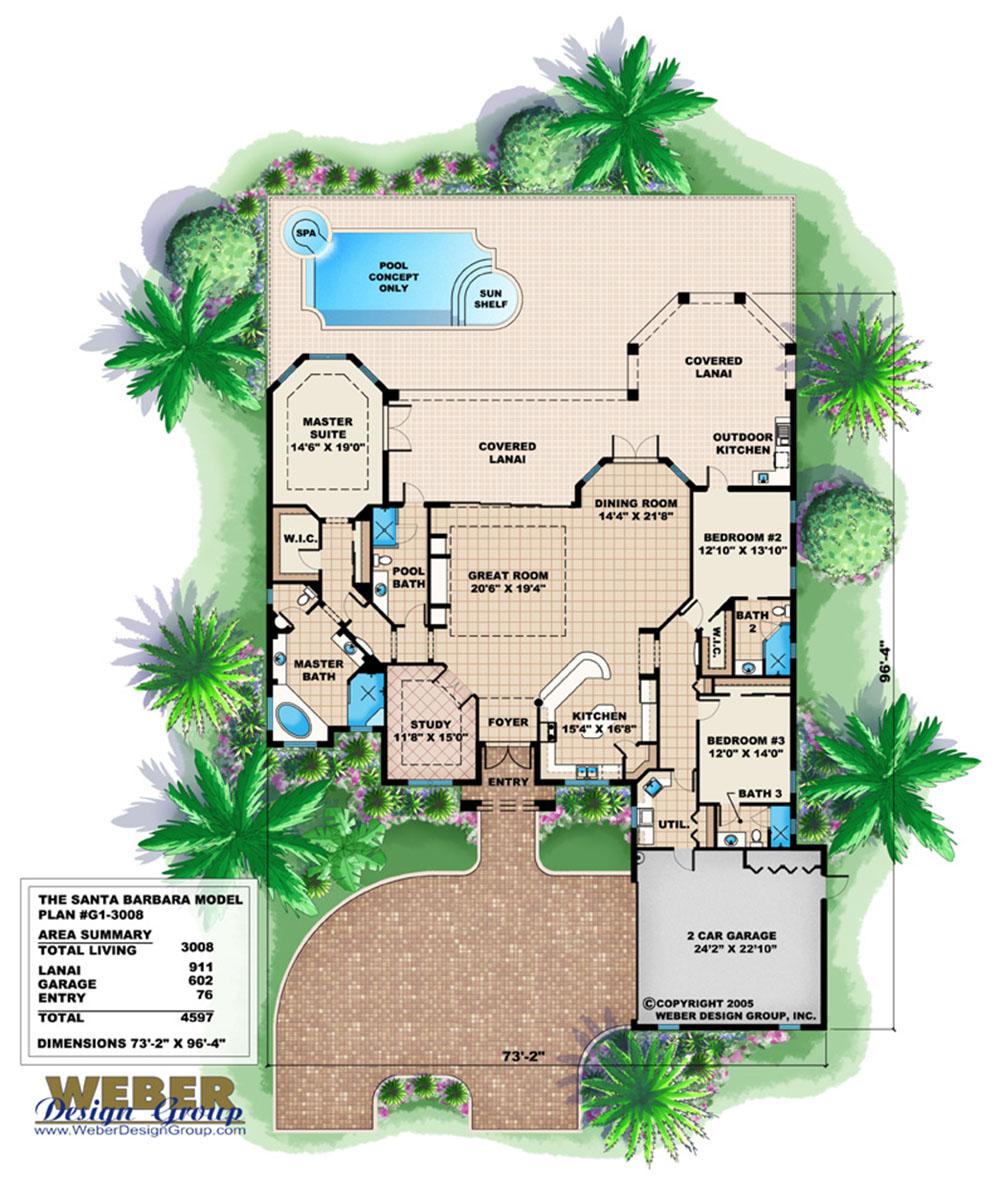 Santa Barbara Home Plan Weber Design Group Naples Fl