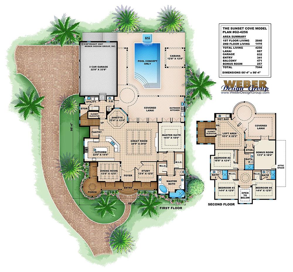 Cabana House Plans Beach Pool Home Floor Plans With Cabanas