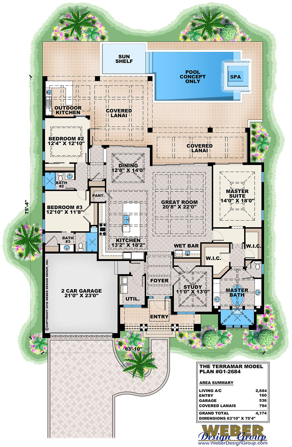 Beach House Plan: Contemporary Caribbean Beach Home Floor Plan