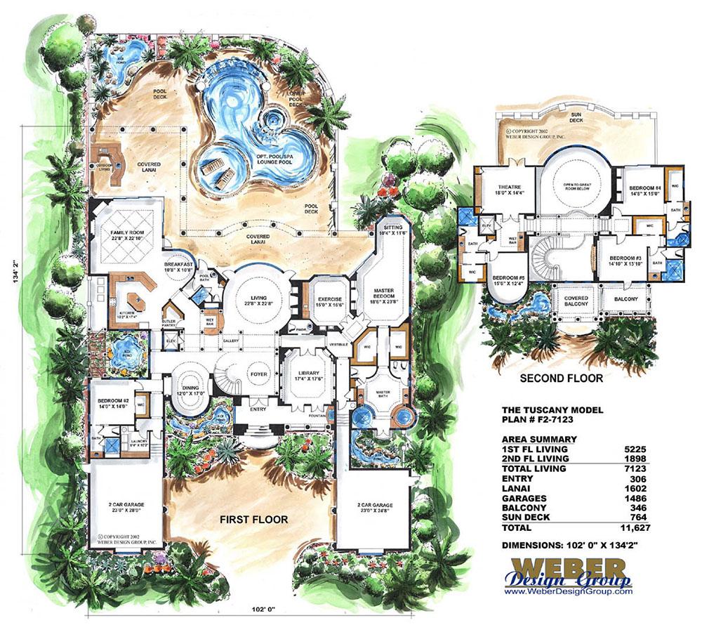 Mediterranean House Plan 2 Story Waterfront Mansion Floor